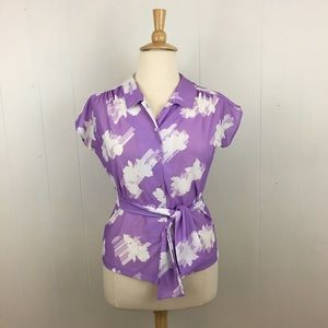 Vintage Floral Belted Cap Sleeve Button Down